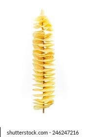 Fry twist slice potato insert on bamboo isolated on white