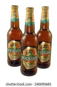 FRYDEK-MISTEK, CZECH REPUBLIC - DECEMBER 27: Premium beer Radegast, white background on December 27, 2014. Redegast Brewery is one of the largest in the Czech Republic