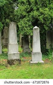 FRYDEK-MISTEK, CZECH REPUBLIC – July 2: beautiful old tombstones on the jewish cemetery in Frydek-Mistek, Czech Republic, July 2, 2017