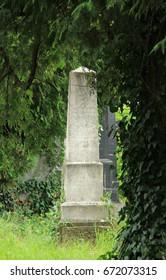 FRYDEK-MISTEK, CZECH REPUBLIC – July 2: old headstone behind the trees on the jewish cemetery in Frydek-Mistek, Czech Republic, July 2, 2017