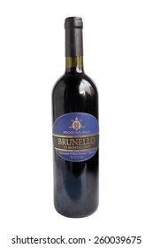 FRYDEK-MISTEK, CZECH REPUBLIC - MARCH 19, 2012: Bottle of wine Brunello di Montalcino. Red Italian wine produced in the vineyards surrounding the town of Montalcino in Tuscany, illustrative editorial