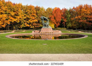 Fryderyk Chopin monument, designed around 1904 and autumn scenery of the Royal Lazienki Gardens in Warsaw, Poland.