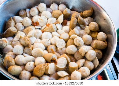frying fish ball kikiam and squid ball with sweet and spicy sauce is a famous sidewalk staple food of the Philippines