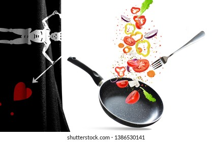 Frying pan with falling vegetables, isolated. On the background of the flag of Blackbeard Pirate