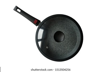 frying and pan glass lid isolated on white background, top view