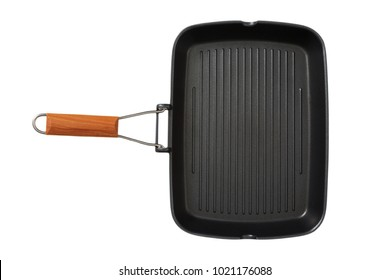 Frying pan grill. For frying vegetables and meat. Preparation. View from above. Isolated.