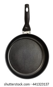Frying pan with handle, isolated on white background