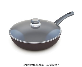 Frying pan with lid on a white background. 3D illustration