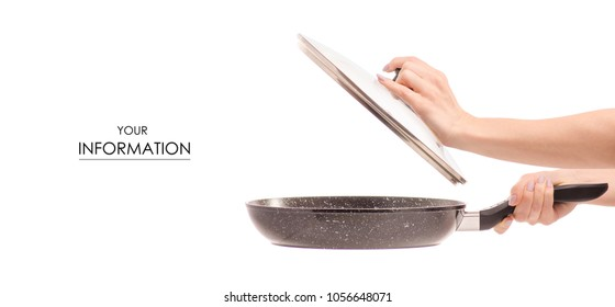 Frying pan with non-stick marble coating with lid in hand pattern on white background isolation