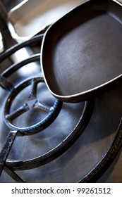 Frying pan on a gas stove in the kitchen of a restaurant