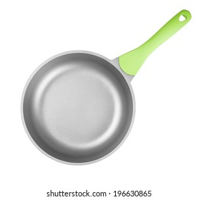 Frying pan or skillet top view isolated on white with clipping path included