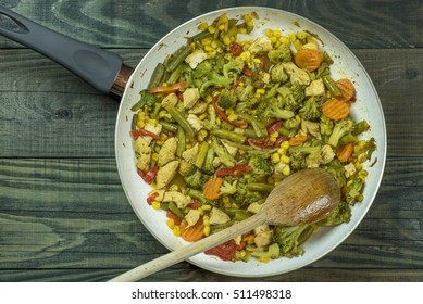 Frying pan with vegetables on a wooden table.