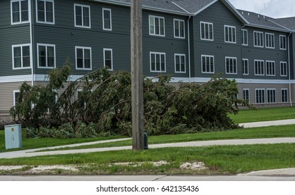 Ft Dodge Iowa United States-5/17/2017 A fallen tree by an apartment building in Fort Dodge Iowa after a big storm