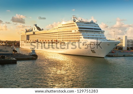 FT. LAUDERDALE, FL - JAN. 12: MSC Poesia, anchored in Port Everglades on Jan. 12, 2013. It is the first ship in the MSC Cruises fleet to be named outside of Italy on April 5, 2008 by Sophia Loren