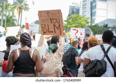 Ft. Lauderdale, FL/ USA -  May 31, 2020: George Floyd protest march. Over 4000 from Huizenga Park thru the streets of Fort Lauderdale, Florida.
