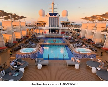 Ft Lauderdale, Florida, December 21, 2019: Main Pool on the Celebrity Equinox Cruise Ship