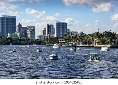 Ft. Lauderdale, Florida - February 18, 2018:  Business and pleasure boats going up and down the intracoastal waterway in Ft. Lauderdale.
