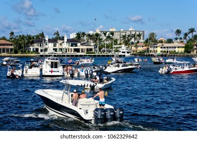Ft. Lauderdale, Florida - February 18, 2018:  Boat owners gather in a popular meeting place on the intercoastal waterway in Ft. Lauderdale.
