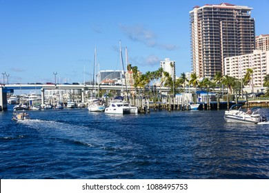 Ft. Lauderdale, Florida - February 18, 2018:  Busy intercoastal waterway leading to Port Canaveral in Fort Lauderdale.