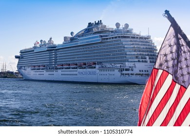 Ft. Lauderdale, Florida - February 18, 2018:  Princess cruise ship anchored in Port Everglades, one of the largest cruise ports in the United States.