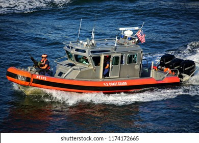 FT Lauderdale Florida November 30 2015 A US Coast Guard 25ft armed defender class boat patrolling the water ways. These boats began service in May 2002.