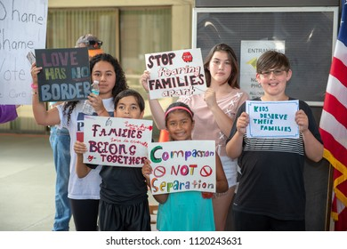 Ft. Lauderdale, Florida/USA - June 24, 2018: Rally to Oppose President Trump, Stop Separating Families was attended by people from all walks of life.