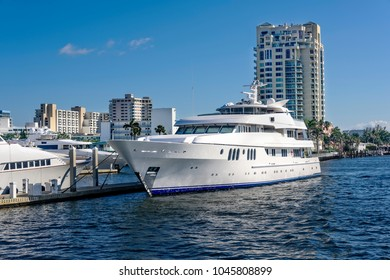 Ft Lauderdale's intercoastal waterway with yachts and high cost real estate