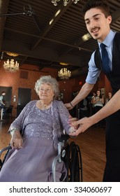 FT. LEE, NEW JERSEY - OCTOBER 29 2015: Wish of a Lifetime, sponsored by Brookdale Senior Living, granted senior Barbara Hankins a lesson in ballroom dancing from celebrity instructor Maks Chmerkovskiy
