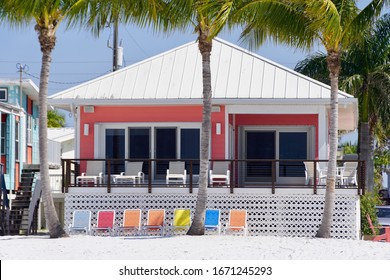 Ft Myers, Florida/USA - March 4, 2020: A horizontal image of a colorful beach cottage along Florida's Ft Myers Beach.