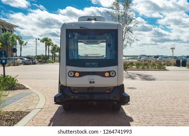 Ft. Myers,Florida / USA - December 22, 2018: EasyMile EZ10 autonomous vehicles are being tested as driverless buses.
