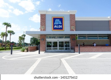 Ft. Pierce, FL/USA-6/21/19: The exterior of Aldi which is a brand of German family owned discount supermarket chains that sells fresh produce, meat, seafood and grocery essentials.