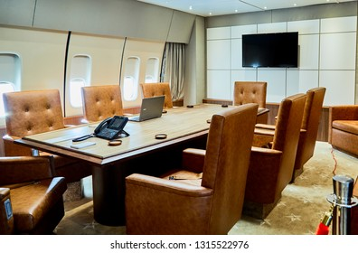Ft. Washington, Maryland, USA - January 16, 2019: Replica of the conference room in the presidential airplane, Air Force One at National Harbor.