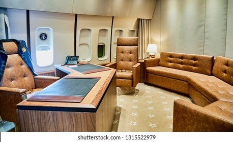 Ft. Washington, Maryland, USA - January 16, 2019: Replica of the Oval Office in the presidential airplane, Air Force One at National Harbor.