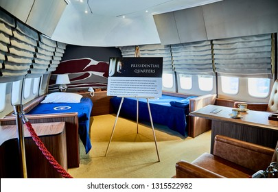 Ft. Washington, Maryland, USA - January 16, 2019: Replica of the presidential sleeping quarters in the presidential airplane, Air Force One at National Harbor.
