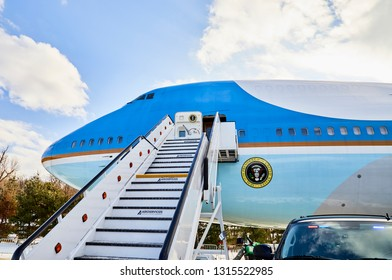 Ft. Washington, Maryland, USA - January 16, 2019: Replica of the presidential airplane, Air Force One at National Harbor.