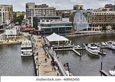 Ft. Washington, Maryland, USA - June 4, 2016: Aerial photograph of National Harbor