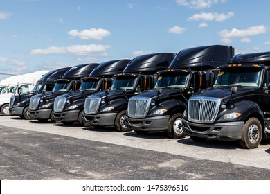 Ft. Wayne - Circa August 2019: International Semi Tractor Trailer Trucks Lined up for Sale. International is owned by Navistar VIII
