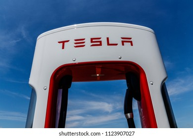 Ft. Wayne - Circa June 2018: Tesla Supercharger Station. The Supercharger offers fast recharging of the Model S and Model X electric vehicles X