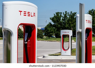 Ft. Wayne - Circa June 2018: Tesla Supercharger Station. The Supercharger offers fast recharging of the Model S and Model X electric vehicles VIII