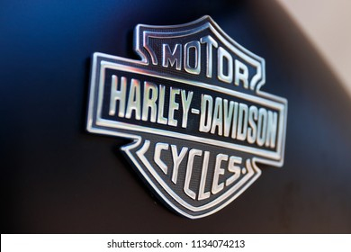 Ft. Wayne - Circa June 2018: Emblem and Logo of a Harley Davidson. Harley Davidson Motorcycles are Known for Their Loyal Following VI