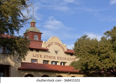 Ft Worth, Texas, USA - January 14, 2016: The Live Stock Exchange building located in the famous Stockyards is now home to the North Fort Worth Historical Society Museum, Ft Worth, Texas, Jan 14, 2016