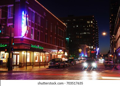 Ft Worth, TX, USA November 5, 2009 The lights of Sundance Square brighten the night in Fort Worth, Texas