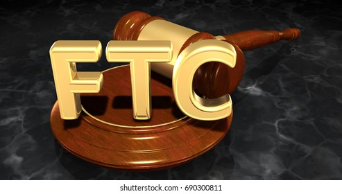 FTC Legal Gavel Concept 3D Illustration