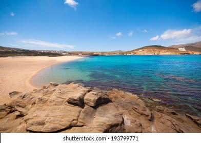 Ftelia beach in Mykonos, Greece