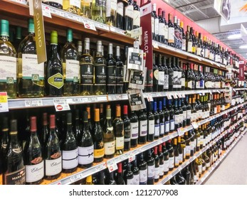Ft.Lauderdale, USA - April 29, 2018: Wine isle at local grocery store at Ft.Lauderdale, USA on April 29 2018