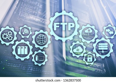 FTP. File Transfer Protocol. Network Transfer data to server on supercomputer background.