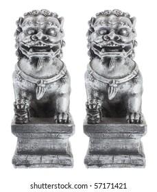 Fu dog Figurines on White Background