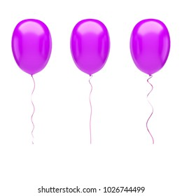 Fuchsia baloons on center isolated on white background. 3D illustration of celebration, party baloons