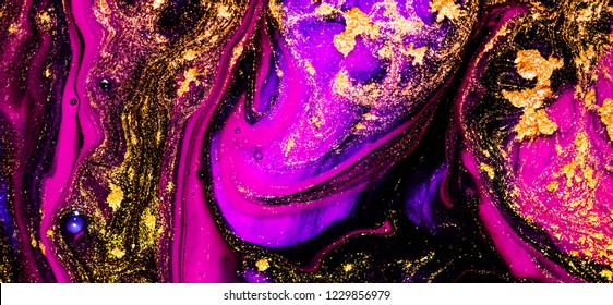 Fuchsia and gold colors, art painting, geode artist work of art. Fuchsia is a color named after the flower of the fuchsia plant. Luxury art in Eastern style. Gouache painting, trendy artwork.
