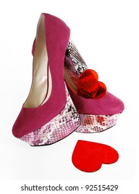 Fuchsia Heels and Red Hearts
